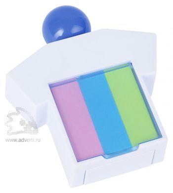 Подставка под скрепки и стикеры «Office-boy», белая с синим, закрытая