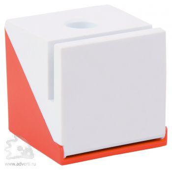 Подставка под ручку, визитки и скрепки «Куб», красная