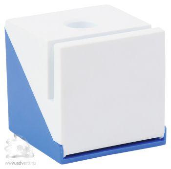 Подставка под ручку, визитки и скрепки «Куб», синяя