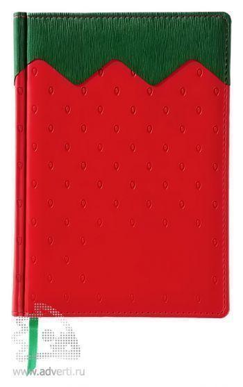 Ежедневник «Клубника», недатированный, красный с зеленым
