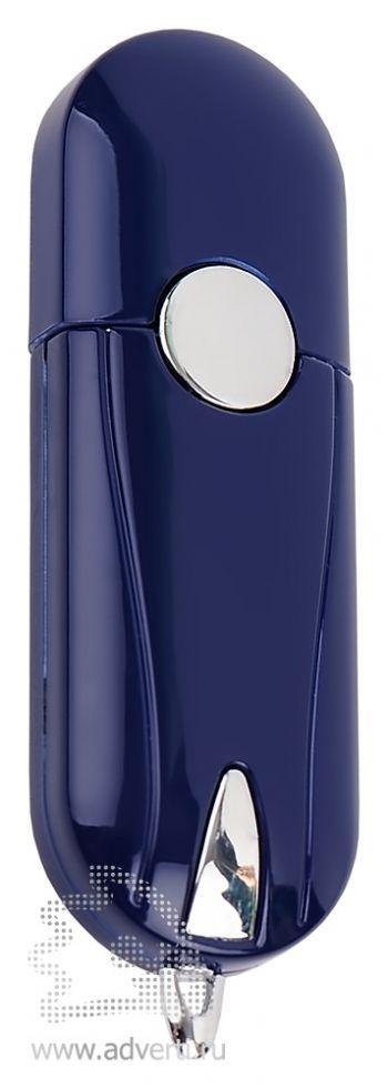 Флешка «Капсула» с кнопкой, темно-синяя