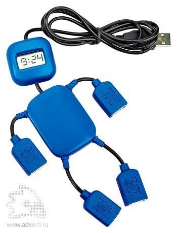 USB-разветвитель на 4 порта с часами в виде человечка, синий