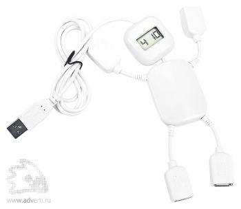 USB-разветвитель на 4 порта с часами в виде человечка, белый