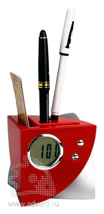 USB Hub на 4 порта с часами, подставкой под ручки и визитки, красный