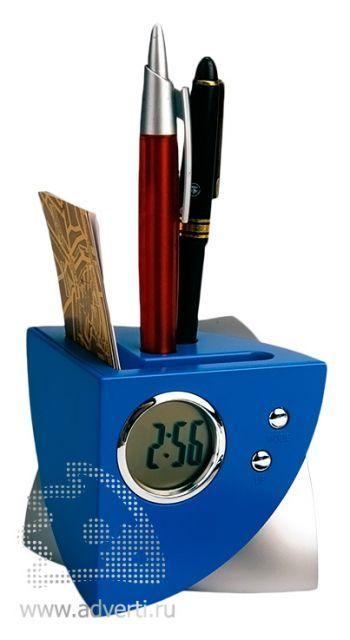 USB Hub на 4 порта с часами, подставкой под ручки и визитки, синий
