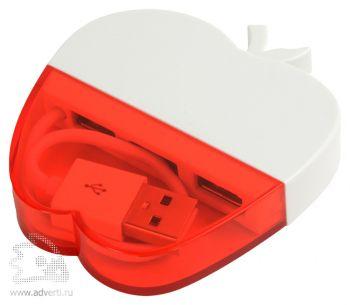 USB Hub на 3 порта «Яблоко», красный