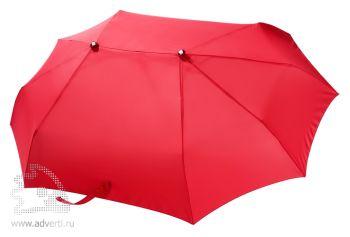 Зонт для двоих складной, механический, 3 сложения, красный
