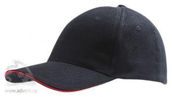 Бейсболка «Buffalo 2», двухцветная, черная с красным
