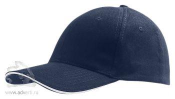 Бейсболка «Buffalo 2», двухцветная, темно-синяя с белым