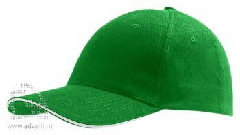 Бейсболка «Buffalo 2», двухцветная, зеленая с белым