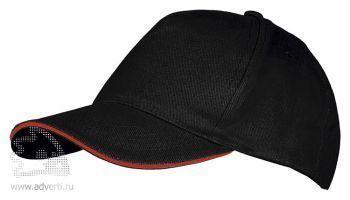 Бейсболка «Long Beach 2», двухцветная, черная с красным