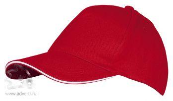 Бейсболка «Long Beach 2», двухцветная, красная с белым
