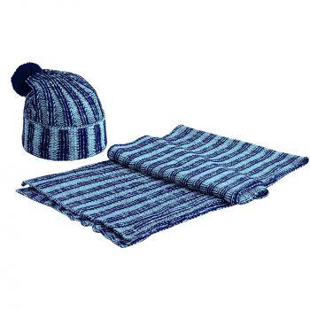 Шапка «Chain Multi», синяя, в комплекте с шарфом