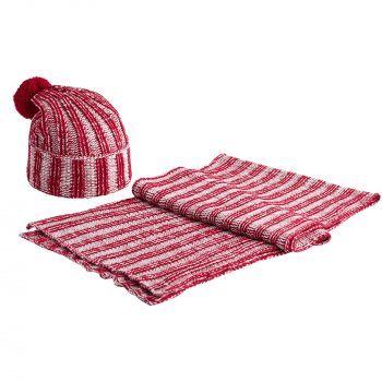 Шапка «Chain Multi», красная, в комплекте с шарфом