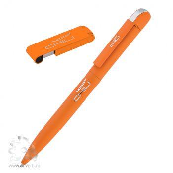 Набор: ручка «Jupiter» + флеш-карта «Case» 8 Гб в футляре, оранжевый