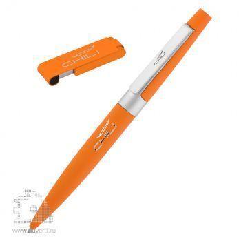 Набор: ручка «Peri»+ флеш-карта «Case» 8 Гб в футляре, оранжевый