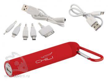 Источник энергии универсальный «Minty» 2800 mAh, с карабином, Chili, красный