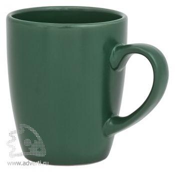Кружка матовая снаружи, глянцевая внутри, темно-зеленая