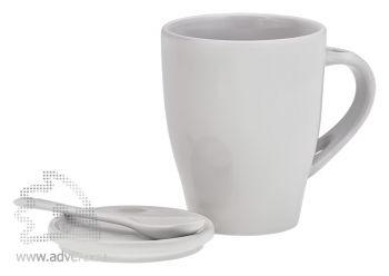 Кружка с ложкой и крышкой-костером, белая