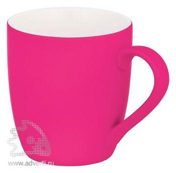 Кружка конусная с прорезиненной поверхностью, розовая