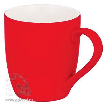 Кружка конусная с прорезиненной поверхностью, красная
