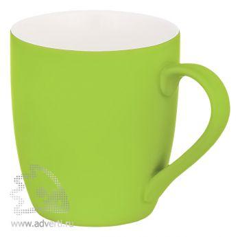 Кружка конусная с прорезиненной поверхностью, светло-зеленая