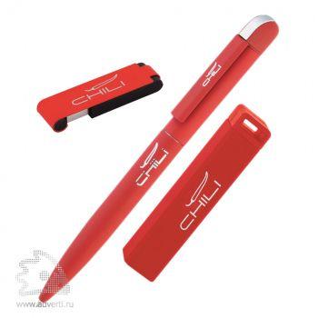 Набор: ручка «Jupiter» + источник энергии «Chida» + флеш-карта «Case» 8 Гб в футляре, Chili, красный