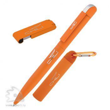 """Набор ручка «Jupiter» + источник энергии «Minty&raquo + флеш-карта  """"Case"""" 8 Гб в футляре, Chili, оранжевый"""