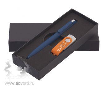 Набор: синяя ручка «Jupiter» + оранжевая флеш-карта (разноцветный)