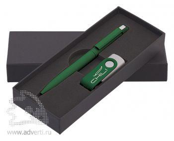 Набор: ручка «Jupiter» + флеш-карта, темно-зеленый