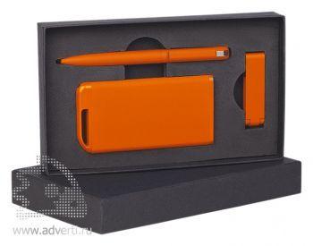 Набор ручка + флеш-карта 8Гб + источник энергии 4000 mAh в футляре, оранжевый