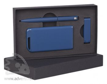 Набор ручка + флеш-карта 8Гб + источник энергии 4000 mAh в футляре, синий