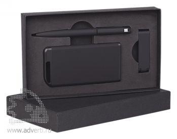 Набор ручка + флеш-карта 8Гб + источник энергии 4000 mAh в футляре, черный