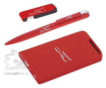 Набор ручка + флеш-карта 8Гб + источник энергии 4000 mAh, красный, без футляра