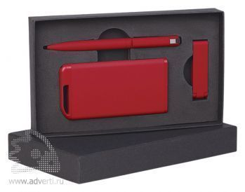 Набор ручка + флеш-карта 8Гб + источник энергии 4000 mAh в футляре, красный