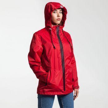 Ветровка «Medvind», женская, красная, на моделе в капюшоне