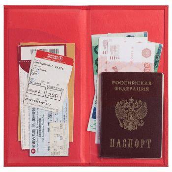 Органайзер для авиабилетов «Twill», красный, пример использования