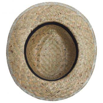 Шляпа «Daydream», бежевая с черной лентой, вид снизу