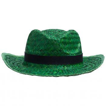 Шляпа «Daydream», зелёная с черной лентой, вид спереди