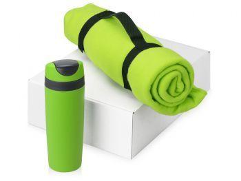 Подарочный набор «Cozy» с пледом и термокружкой, зеленый