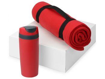 Подарочный набор «Cozy» с пледом и термокружкой, красный