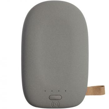 Аккумулятор с беспроводной зарядкой «Pebble Wireless» 9000 mAh, серый, вид сверху