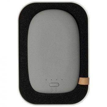Аккумулятор с беспроводной зарядкой «Pebble Wireless» 9000 mAh, серый, в футляре