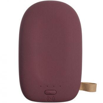 Аккумулятор с беспроводной зарядкой «Pebble Wireless» 9000 mAh, бордовый, вид сверху