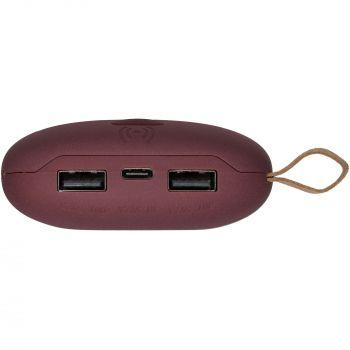 Аккумулятор с беспроводной зарядкой «Pebble Wireless» 9000 mAh, бордовый, вид со стороны разъемов