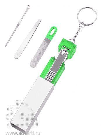 Брелок с маникюрным набором «Золушкa», зеленый, в открытом виде