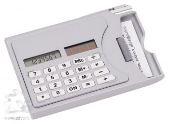 Визитница с калькулятором, белая