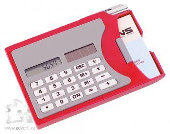 Визитница с калькулятором, красная