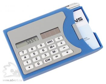 Визитница с калькулятором, синяя