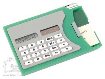Визитница с калькулятором, зеленая